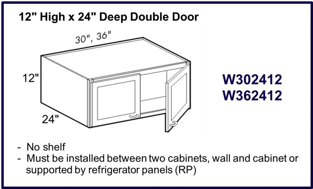 "12"" high x 24"" deep double door wall cabinet"