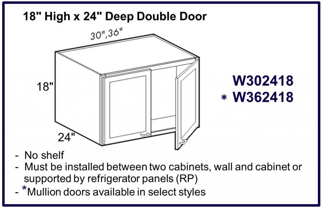 "18"" high x 24"" deep double door wall cabinet"