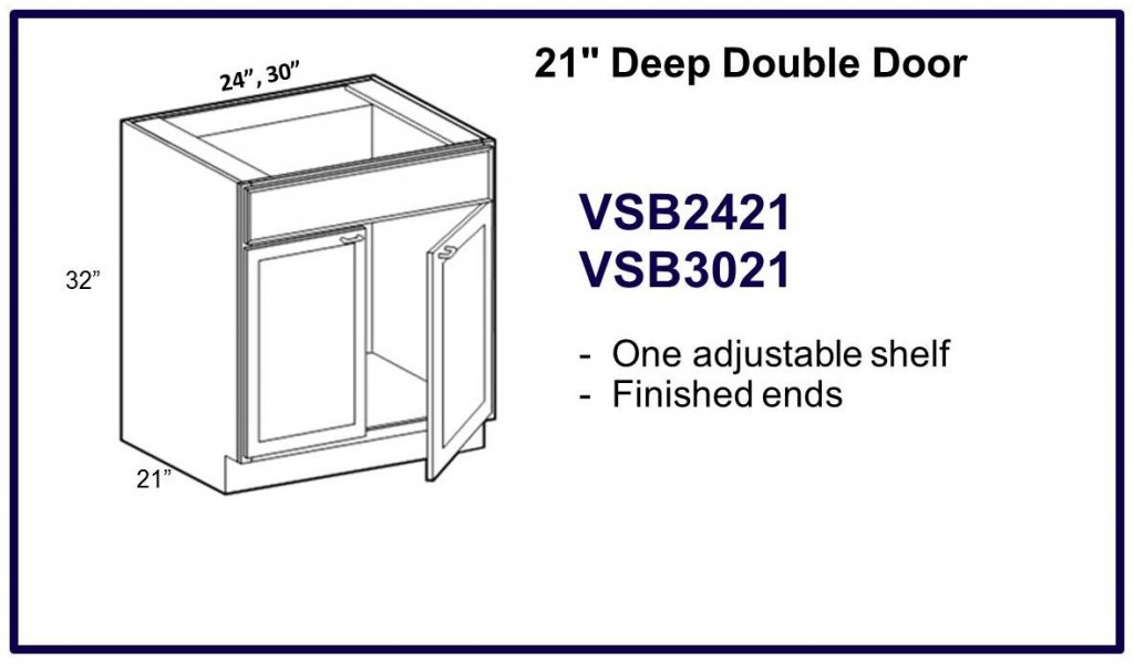 "21"" deep double door cabinet"