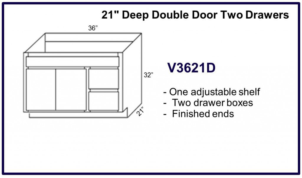 "21"" deep double door 2 drawer cabinet"