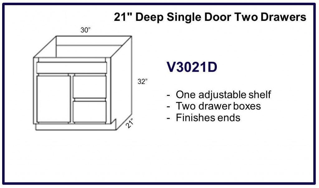 "21"" deep single door double drawer cabinet"