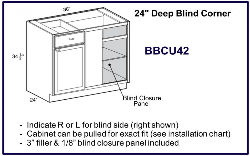 "24"" deep blind corner base cabinet"