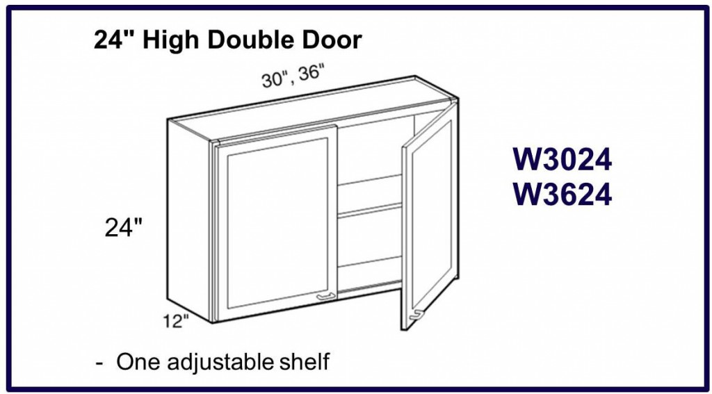 "24"" high double door wall cabinet"