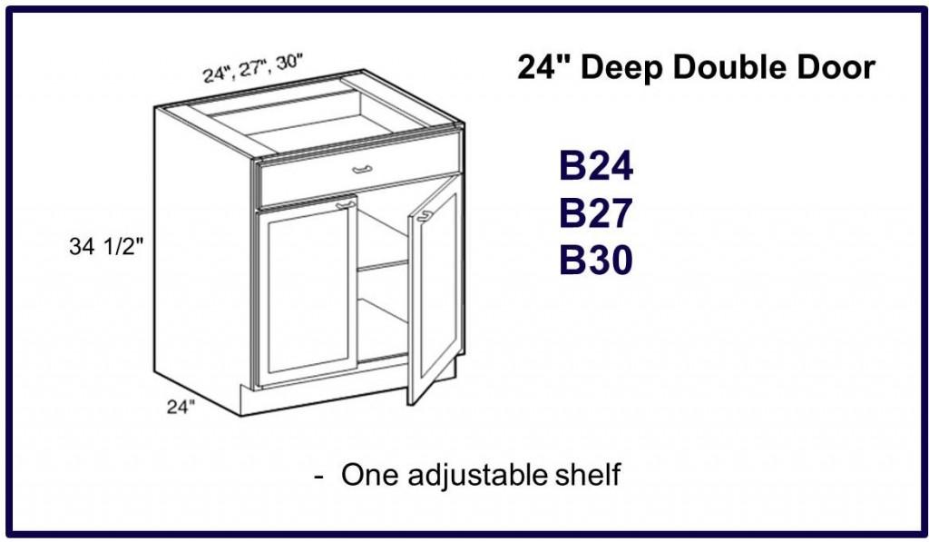 """24"""" deep double door base cabinet"""
