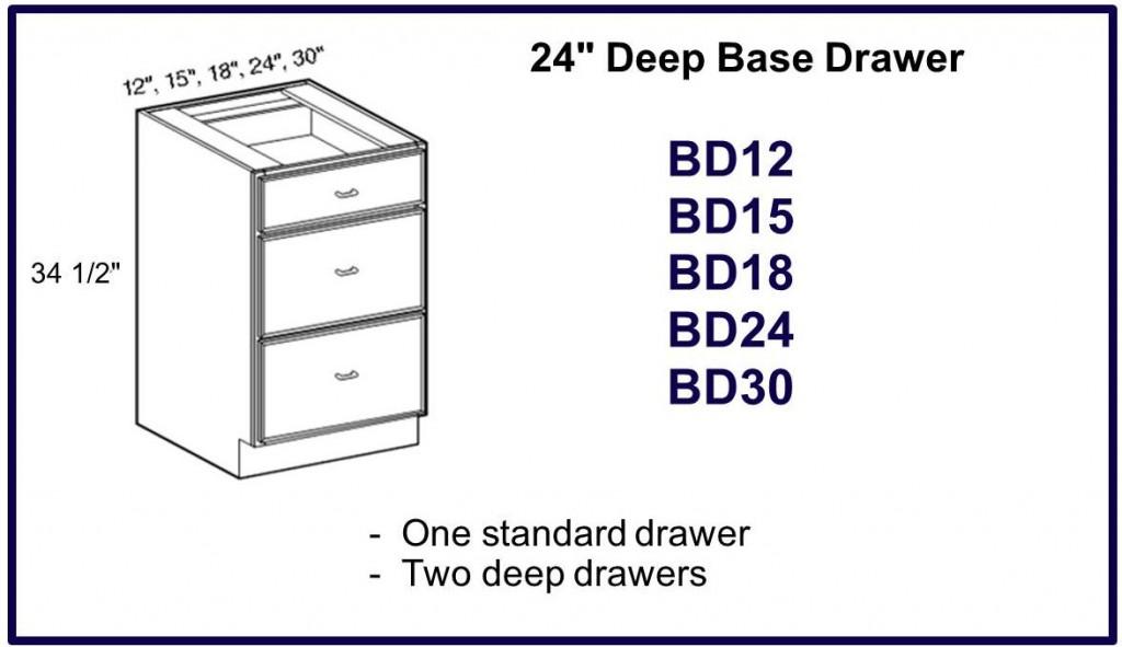 "24"" deep base drawer cabinet"