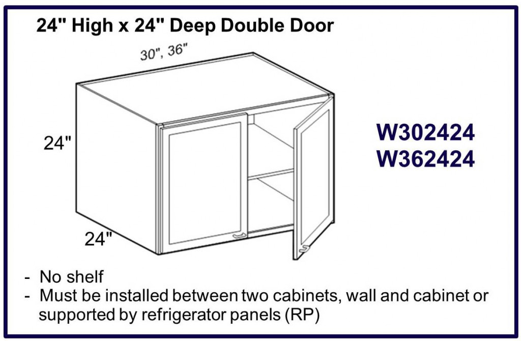 "24"" high x 24"" deep double door wall cabinet"