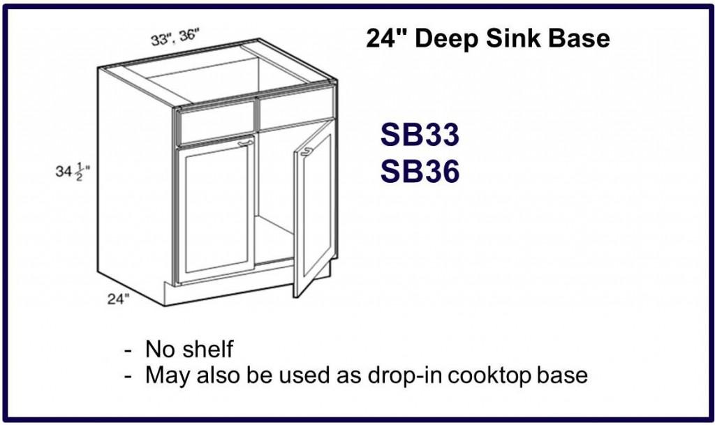 "24"" x 33"" & 36"" deep base sink cabinet"