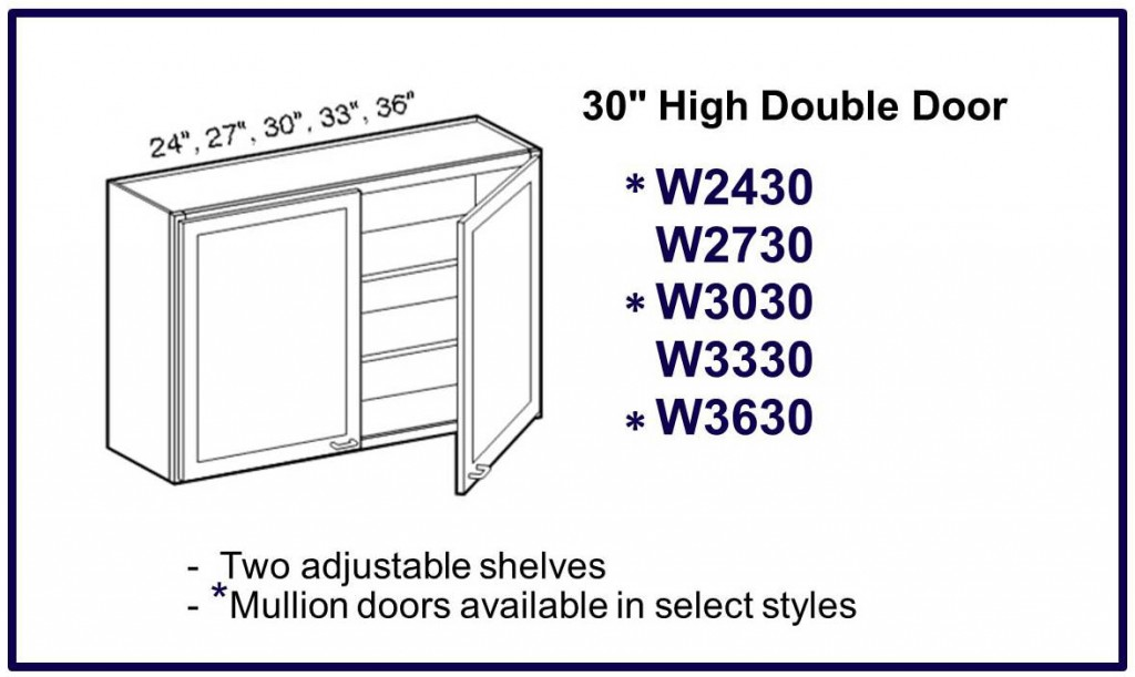 "30"" high double door wall cabinet"