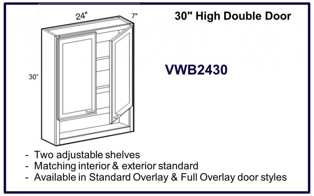 "30"" high double door cabinet"