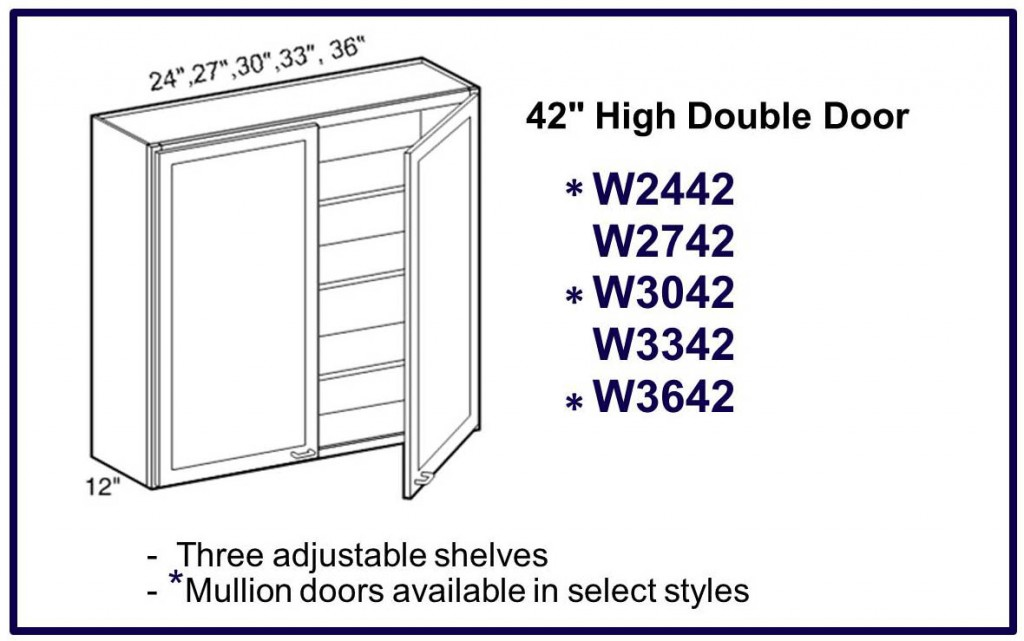 "42"" high double door wall cabinet"