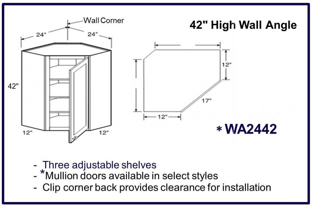 "42"" high wall corner cabinet"