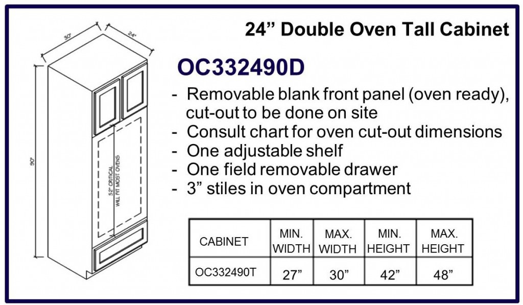 "90"" high double oven cabinet"