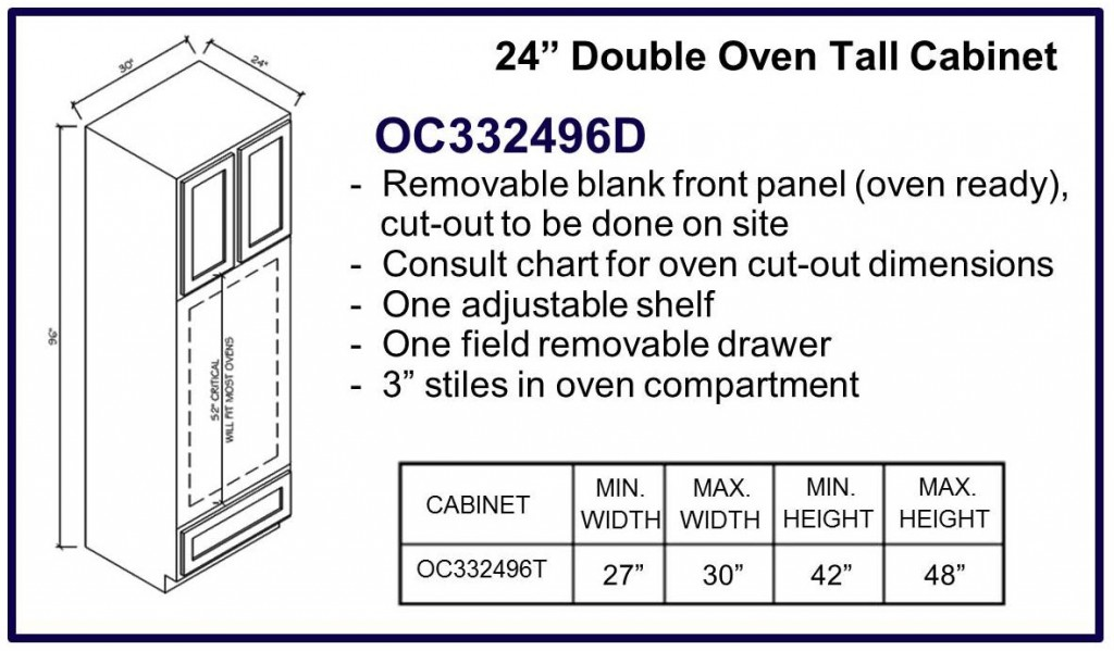 "96"" high double oven cabinet"