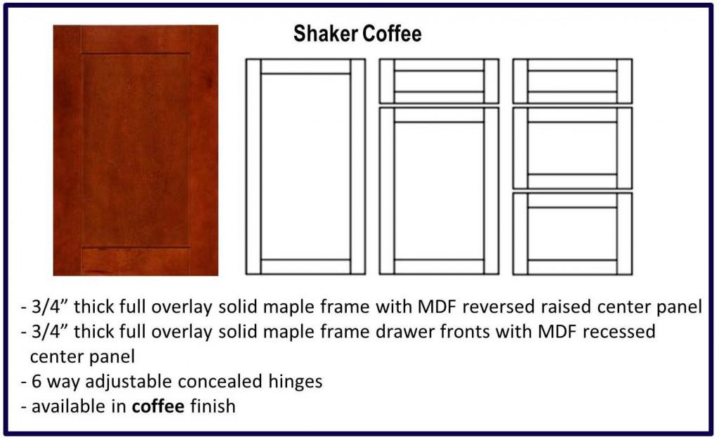 shaker door style coffee colour