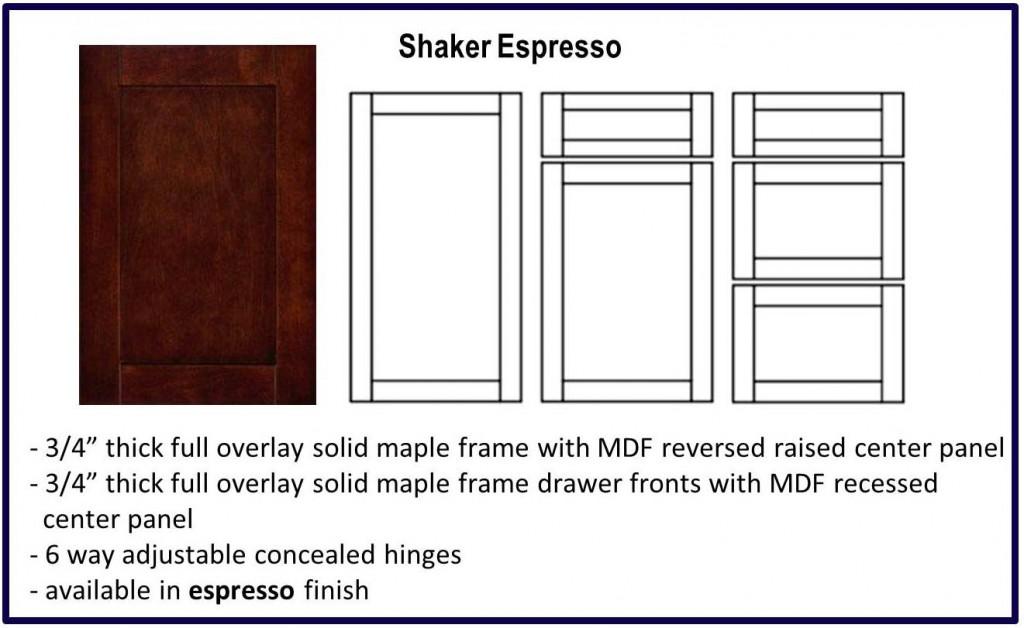 shaker door style espresso colour